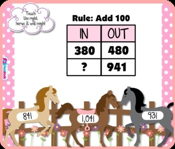 Input Output Tables Addition Subtraction SMART BOARD Game - Have fun with horses and solve input/output tables involving addition and subtraction of up to three digits. This self-checking Smart Board game is based on the 3rd grade common core standard 3.OA.9. $