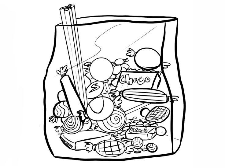 Dibujos de Bolsa de chuches para colorear