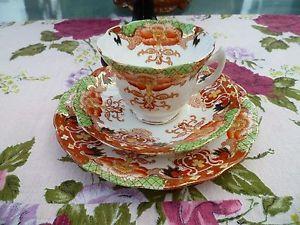 Vintage-Antiguo-Ingles-China-trio-Platillo-de-taza-de-te-verde-floral-3868-placa-de-oxido