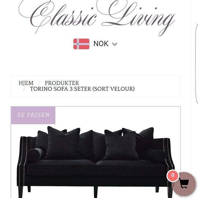 """NYHET Vi er stolte over å presentere """"TORINO"""" sofa/spisestuesofa.  Hva synes dere?   Torino er en lekker og tidløst sofa med fantastisk komfort. 2 sett med bein medfølger slik at den kan benyttes både som sofa og spisestuesofa. Ekstra trekk til alle løse puter medfølger uten ekstra kostnad. Kommer i 2 str. I sort velour og lyd grå velour.  For mer info: www.classicliving.no"""