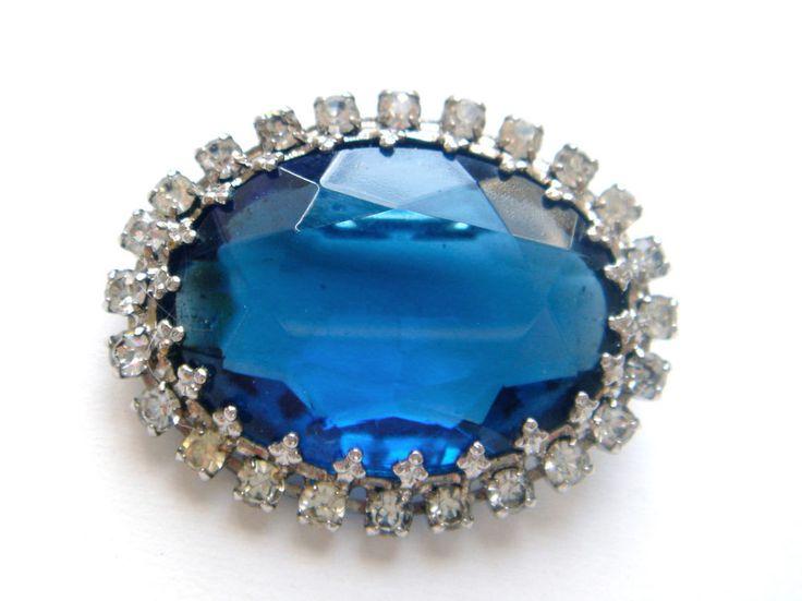 Vintage Czech Glass Brooch Pin Silver Tone BLUE Cabochon Rhinestone