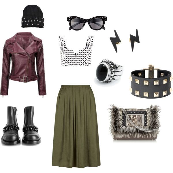 Olive Skirt Punk Style by edeln on Polyvore featuring, Alexander McQueen, Givenchy, Jimmy Choo, Valentino and Italia Independent