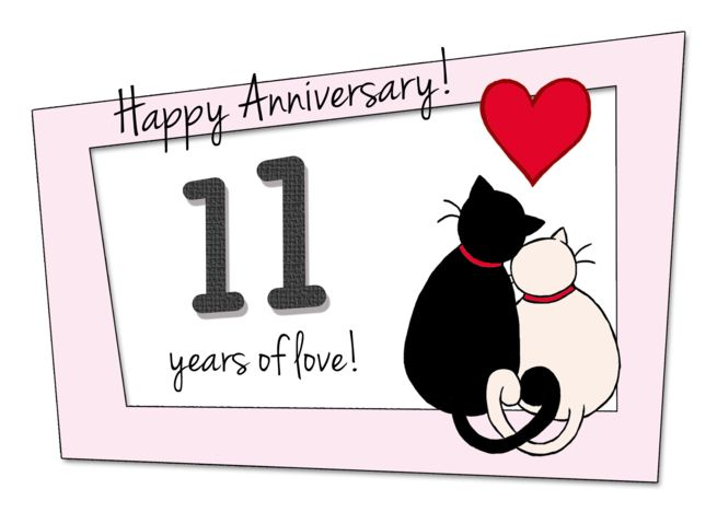 Happy 11th Wedding Anniversary Two Cats In Love Card Ad Ad Wedding Happy A Happy 11th Anniversary Happy Anniversary Quotes 11th Wedding Anniversary
