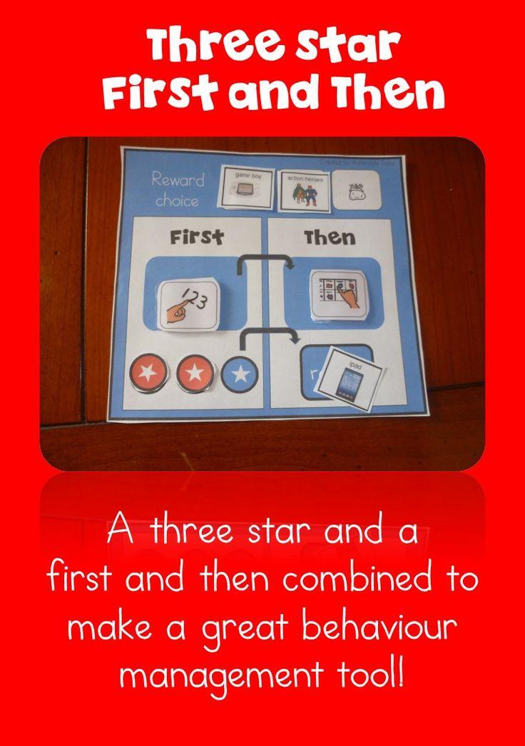 Behaviour Management tool -Three star, first and then - Kindergarten/Autism