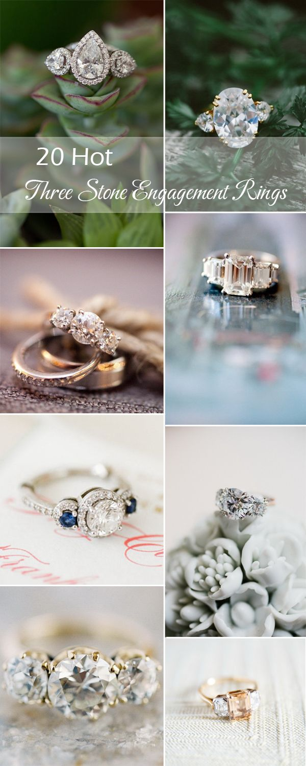 20 Gorgeous Three-Stone Engagement Rings You Will Want | http://www.tulleandchantilly.com/blog/20-gorgeous-three-stone-engagement-rings-you-will-want/