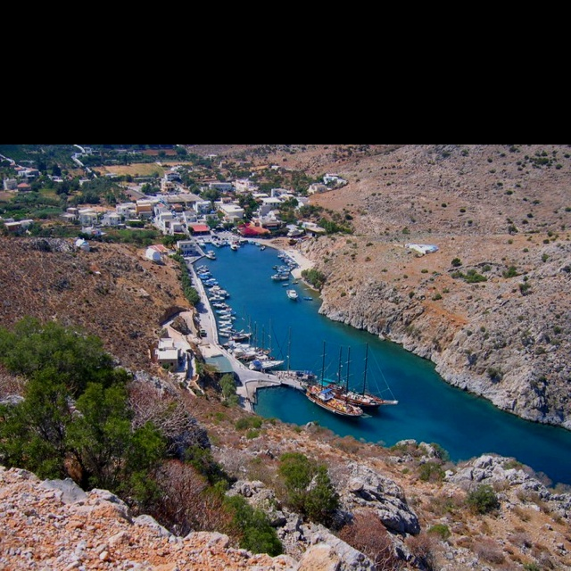 Sailing in Greece - Vathi, Kalymnos. Not a bad little hidey-hole from the meltemi !