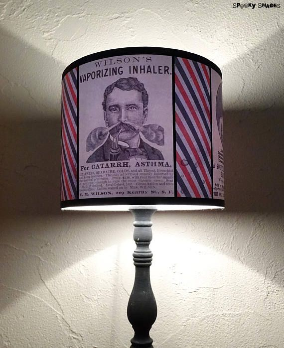 Victorian antique medicine drum lamp shade lampshade - #SpookyShades #barbershop #barbershopdecor #vape #vaping #victorian #victoriandecor #beard #hipster #oldfashioned #vintage #eclectic #bohemian #bohemiandecor #vintageads #medicine #vintagemedicine #apothecary #victoriangothic