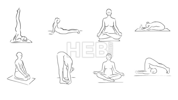 Set of Eight Yoga Figures