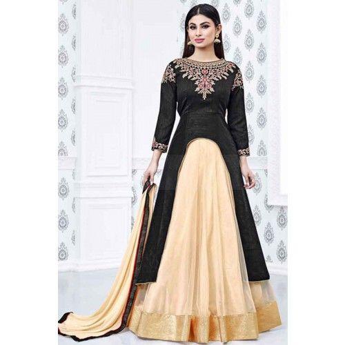 BLACK SILK ANARKALI SUIT Price - £71.00 #IndianSuit  #FashionUK #DesignerDresses #ShopkundUK  #AnarkaliSuit