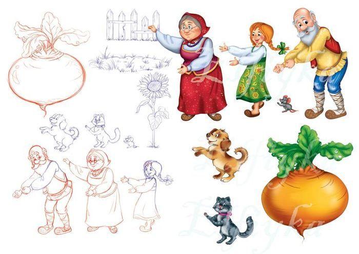 Просмотреть иллюстрацию магнитный театр по сказке Репка из сообщества русскоязычных художников автора Косторнова Катерина в стилях: Детский, нарисованная техниками: Растровая (цифровая) графика.