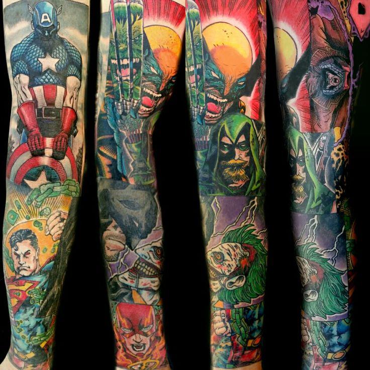 Comic Book Sleeve Tattoo by Steve Rieck from Las Vegas, NV