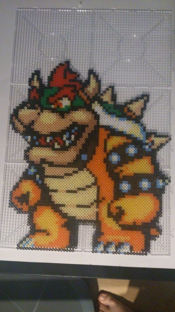 Bowser perler beads by chopperman199 on deviantART perler,hama,square pegboard,video games,nintendo,mario,