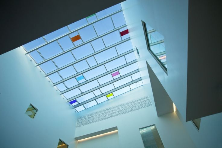 Stained glass roof of Skodsborg Spa by Henning Larsen Architects. Photo by Kontraframe