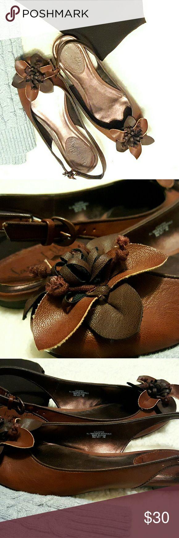 NWOT Brown slingbacks flats Sam & Libby size 7 NWOT slingback flats by Sam & Libby, size 7. Sam & Libby Shoes Flats & Loafers