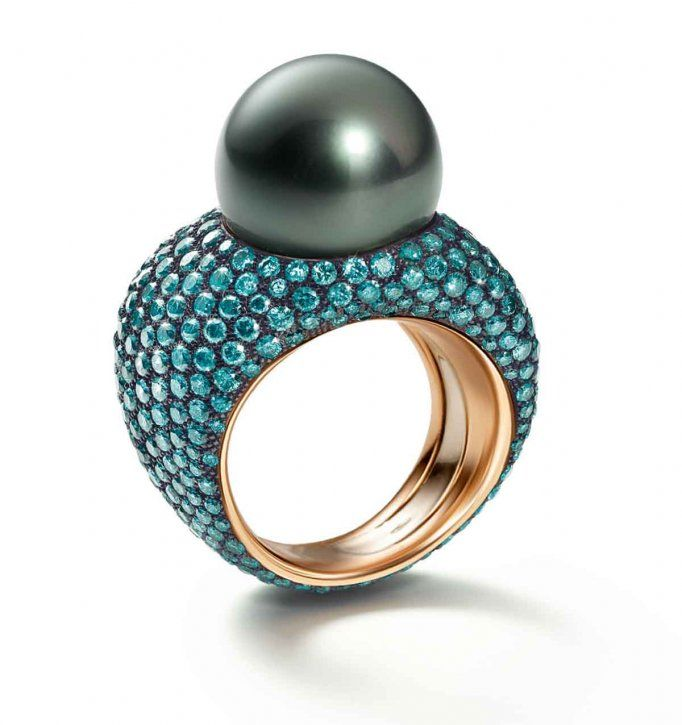 Tahitian pearl and blue diamond ring in rose gold by Schoeffel