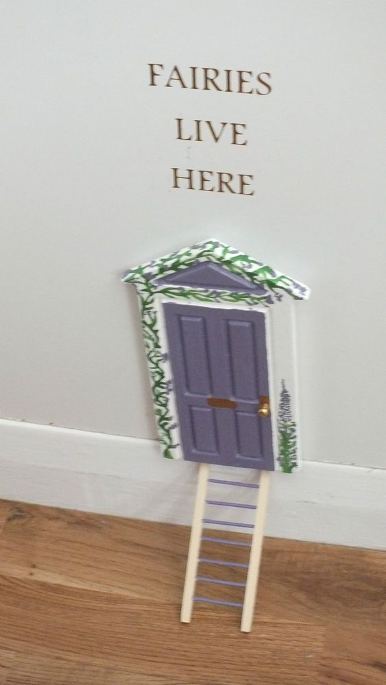 Hand painted skirting board fairy door lilac with decal for Painted fairy doors