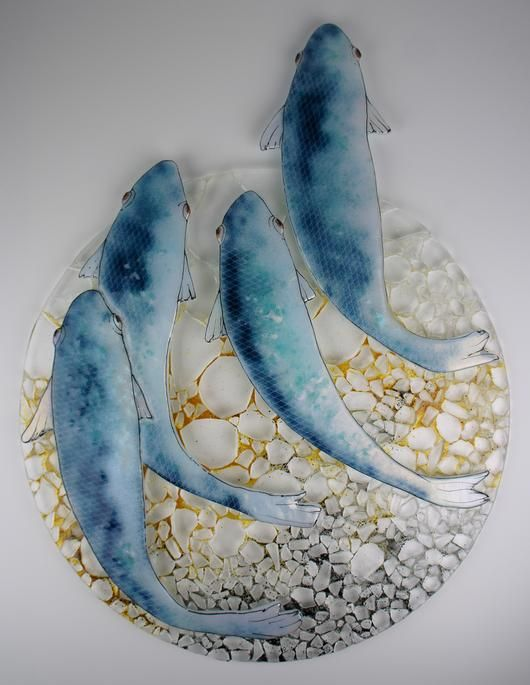 "2014 Online Art Glass Festival Kiln Formed Glass 3rd Place ""Blue Fish"" by Michelle"