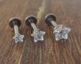 16g claro cristal trago Triple Hélice delantera por MadiRyanJewelry
