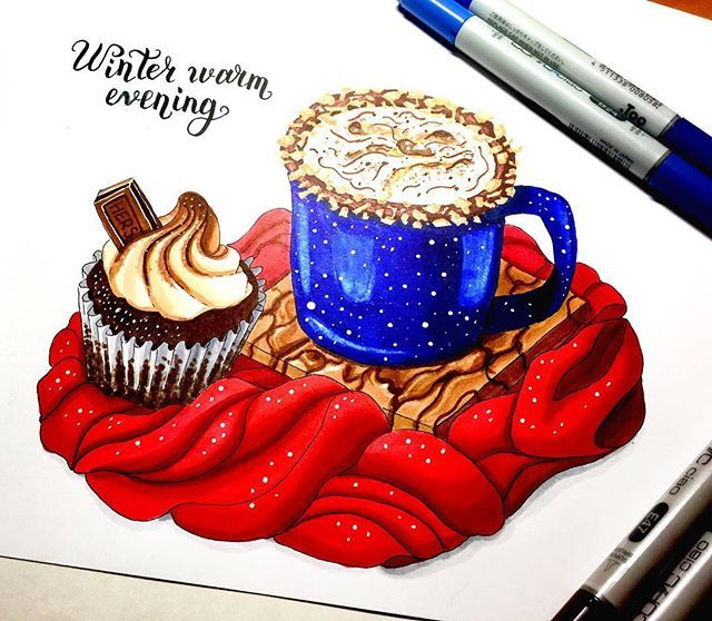 Первое задание Новогоднего Марафона :) 1/8 Зимний Напиток - горячий шоколад, а с капкейком вкуснее ;). #lk_newyear #art #creative #instaart #artist #illustration #markers #topcreator #art_we_inspire #drawing #sketch #sketchbook #vscodraw #иллюстрация #маркеры #скетч #скетчбук #рисунок #рисую @art_markers @miftvorchestvo @tsusketch