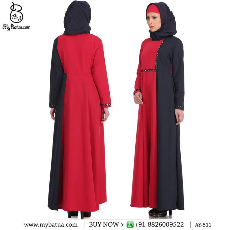 Buy Maizah Rose Pink & Navy Blue Kashibo Abaya Online | MyBatua  Available in sizes XS to 7XL, length 50 to 66 inches.  Buy Link: http://bit.ly/2lLIHTM Whatsapp: +91-8826009522 (#worldwide #shipping)  #abaya #black #arabclothing #hijabdress #muslimwomen #arabwomen #jilbabfashion #uaeabaya #arabwomen #jilbabfashion #muslimah #emirateswomen #online