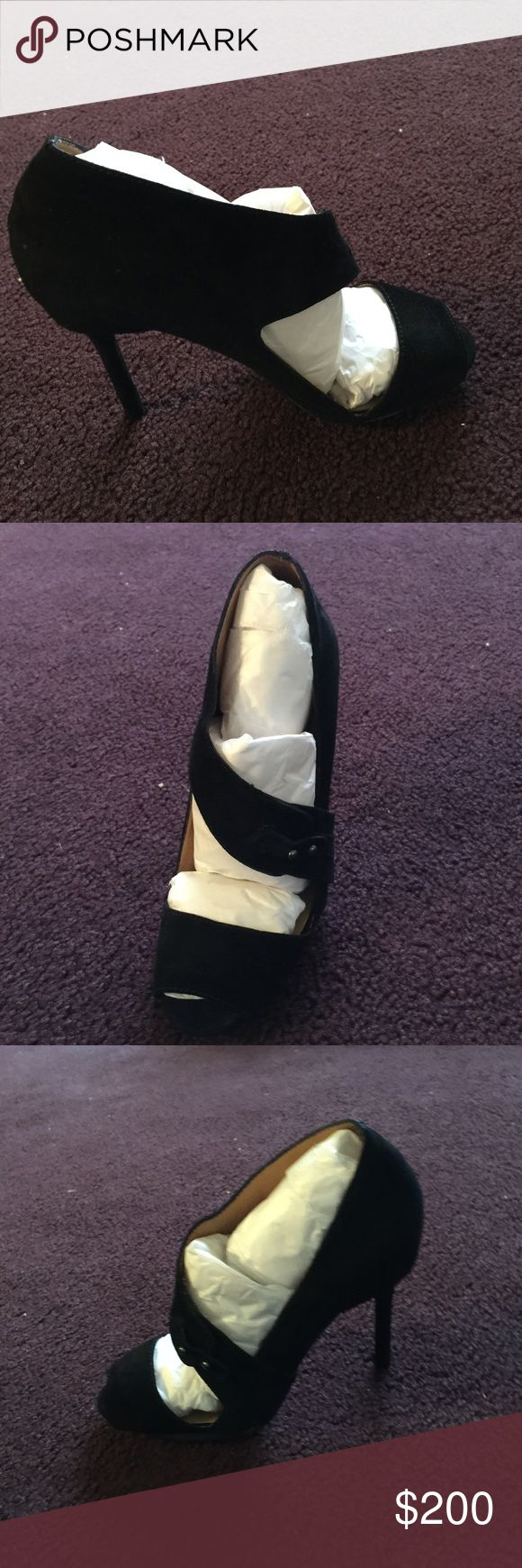 L.A.M.B Black suede lamb shoes, worn once, comes with dust bag, box and extra heel taps. Excellent condition. No scratches or stains selling b/c I'm not wearing heels 👠 that high anymore.  Also authentic L.A.M.B. Shoes Heels