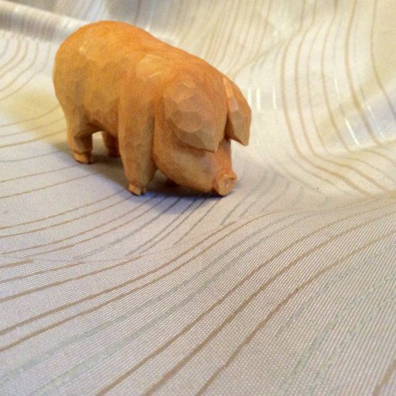 Pig hog farm animal wood carving woodcarving of by CLNleathercraft