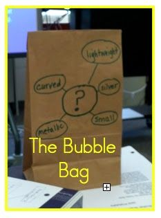 Bubble Bag!! The outside of the bags has adjectives describing the mystery object inside! This would be a great way to introduce describing words to kindergartners! You can see above the clues, the mystery item was a paper clip.