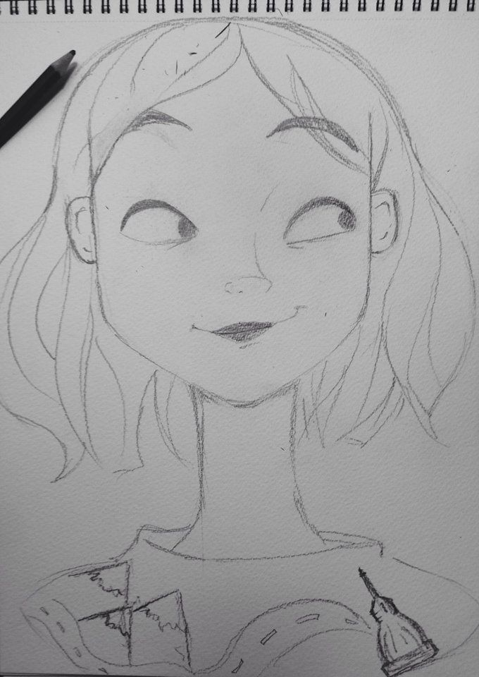 Illustration, Drawing Pencil Girl Road to Turin
