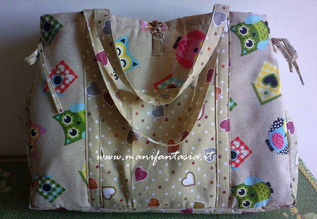 borsa di stoffa gufi e cuori portalavoro