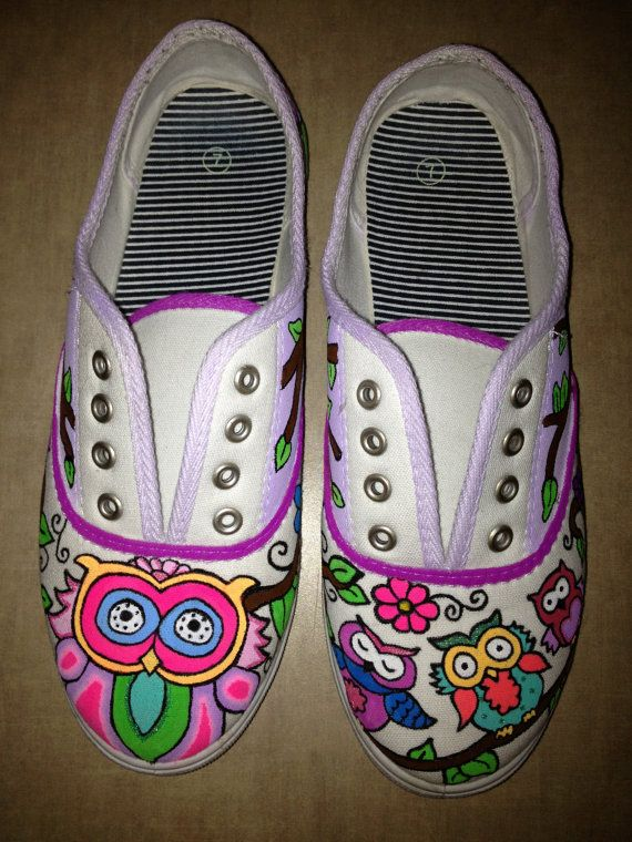 Owls & Branches Custom Painted Shoes (Toms available) via Etsy