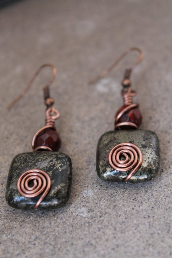 wire wrapped jewelry handmade Rustic Earrings por shahrinalam