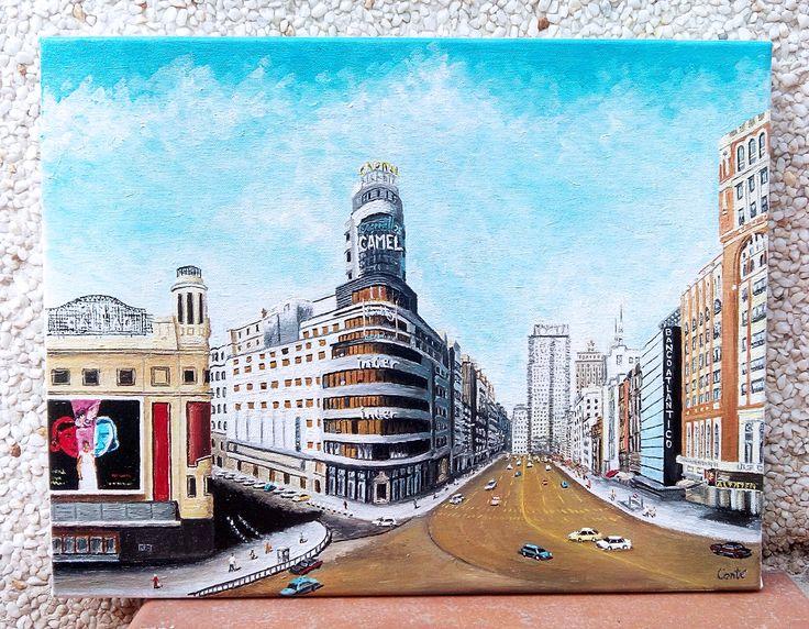 Encargo para cliente de la maravillosa Gran Vía en motivo antiguo. Óleo sobre lienzo, 35x27cm.