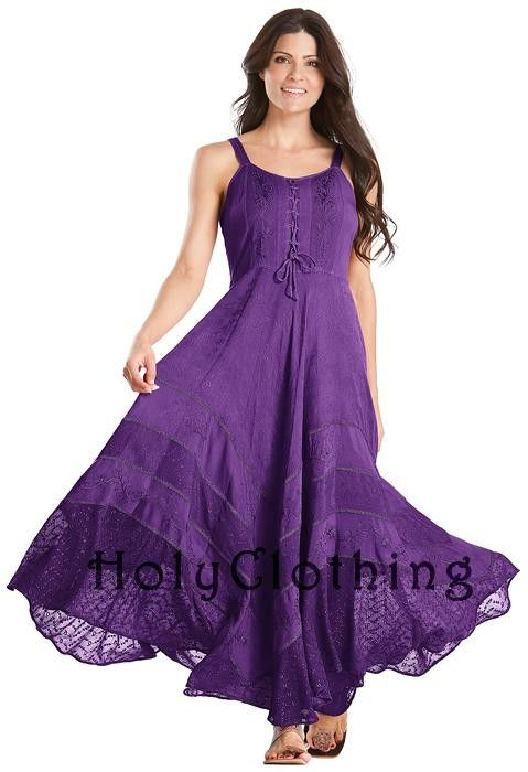 Romantic Renaissance Peasant Lace-Up design with A-Line skirt flaring to full length!