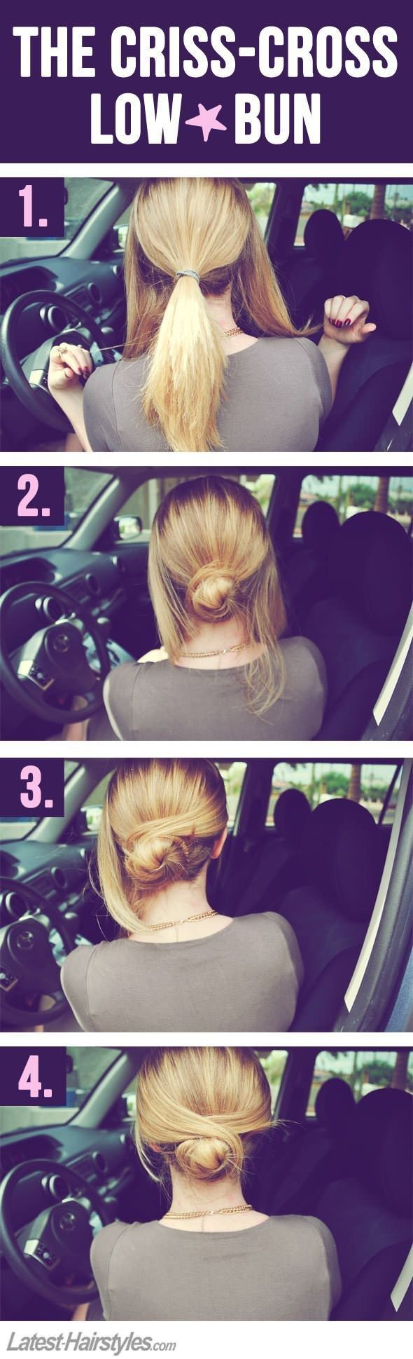 Criss-cross your hair into this simple low bun.