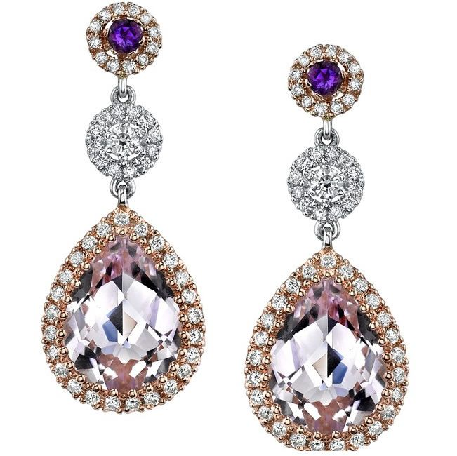 18k White And Rose Gold Pink Amethyst And Diamond Earrings