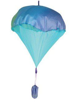 100% silk parachute. Perfect for younger kids over 3 years. Easy to throw and quick to open parachute won't tangle. Comes with a bouncy ball in pouch...