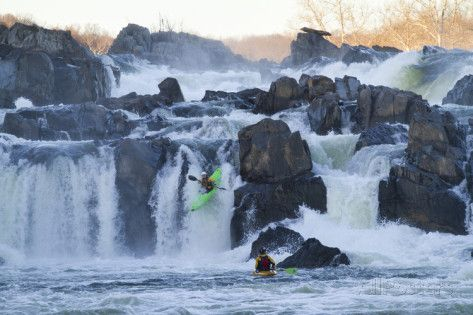 Kayakers Running Great Falls of the Potomac River Photographic Print by Skip Brown at AllPosters.com