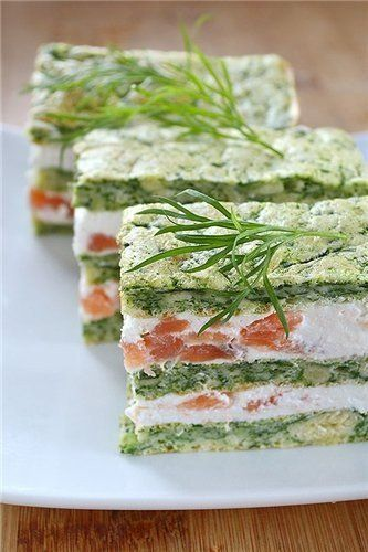 Appetizer with cheese mousse and salted salmon