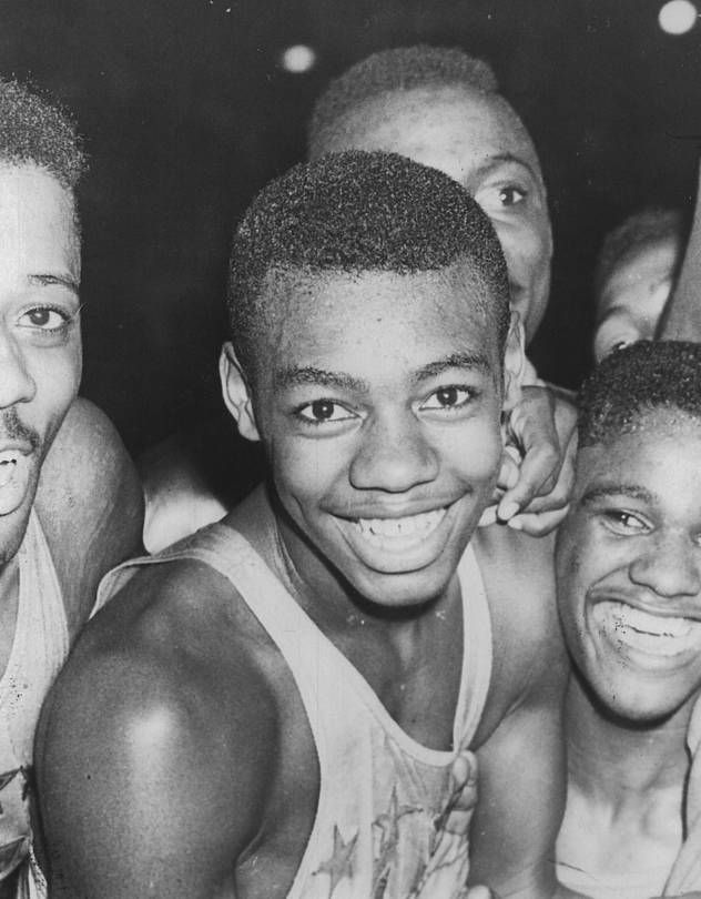 Mr. Robertson in the mid-1950s with his teammates at Crispus Attucks High School in Indianapolis.