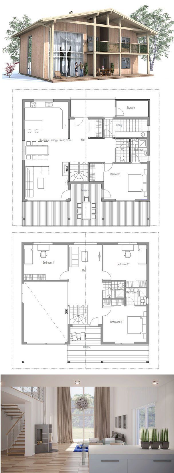 80 best famous floorplans images on pinterest floor plans modern house plan with four bedrooms suits well to lot with big back yard or