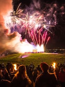 Fireworks celebration at Hogmanay in Scotland