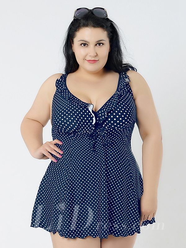 Dark Blue Dot Conservatism Floral Printed Halter Two-Piece Plus Size Swimsuit With A Little Skirt Lidyy1605241060