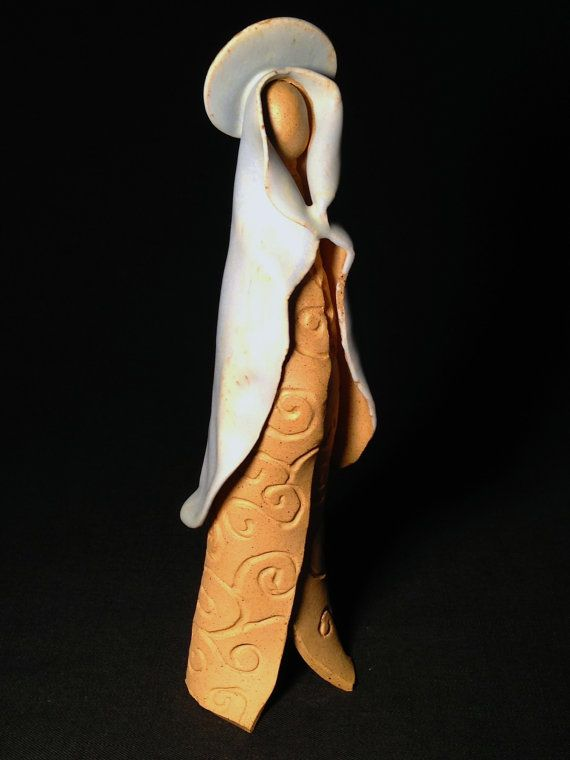 Handcrafted Pottery Blessed Mother buff/light by Potterybydaina, $65.00