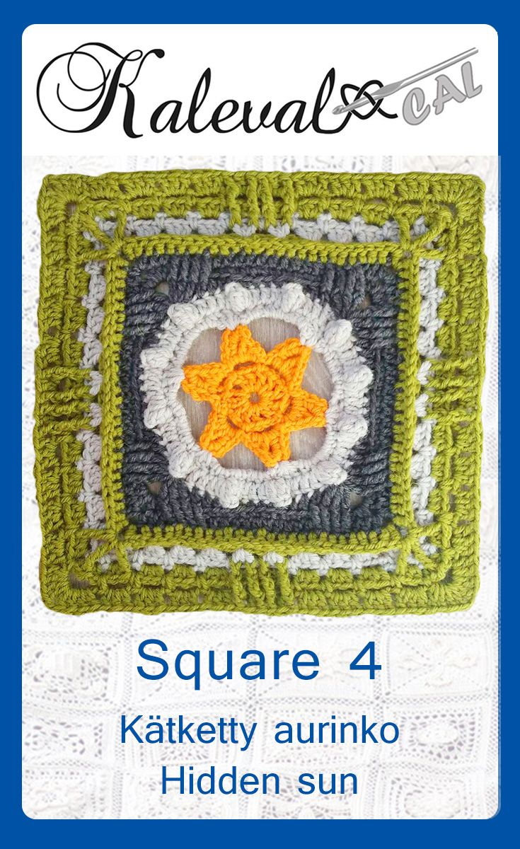 Kalevala CAL crochet-along, square 4 for the blanket. Hidden sun, design Susku Öysti. #crochetsquare #crochetalong