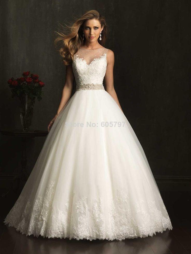 frete grátis, nova moda noiva elegante modesto a- linha appliqued tule macio com…