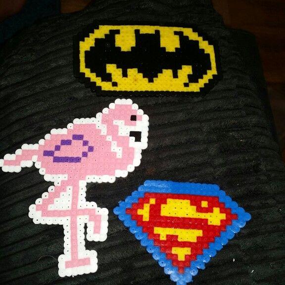 Hama fun. Batman superman and flamingo.