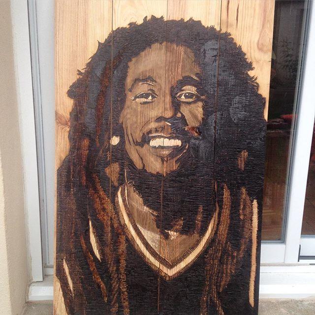 Bob Marley Brulure et gravure sur bois BvLn 2017