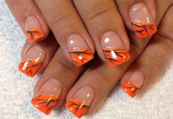 Orange Camouflage Nail Design