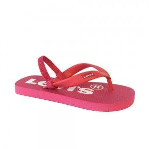 Chanclas dedo niñas playa piscina goma talón Levi´s rosa
