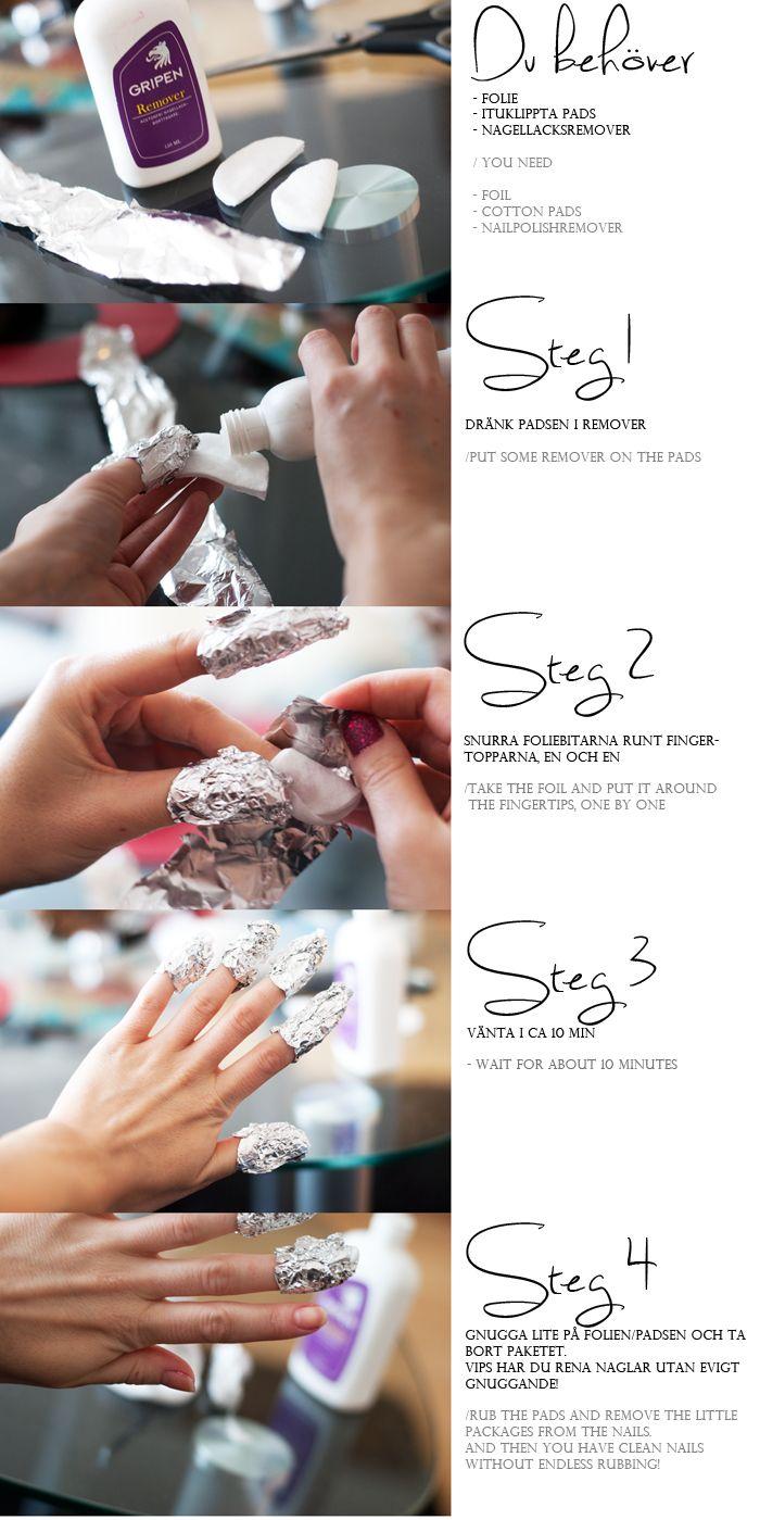 Tutorial: the easiest way to get rid of glitter-nail polish (Linda Hallberg) (Swedish and English)